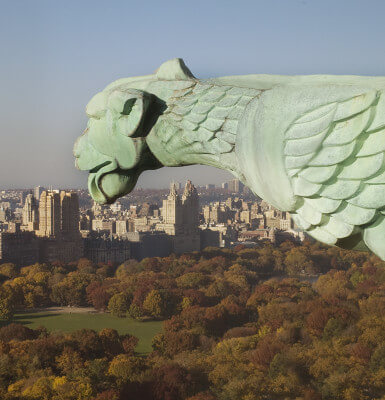 Perched on the 560-foot, 38-story building, the west-side griffin overlooks Central Park.