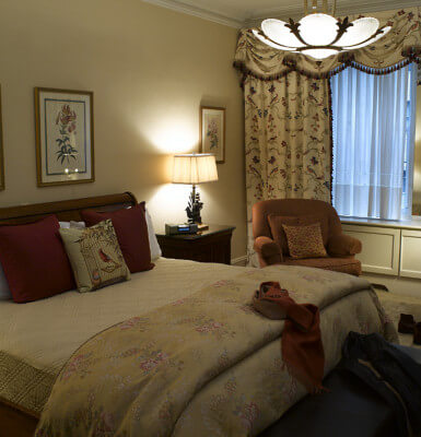 Featuring rich brocade interiors, Room #415 is a quiet haven, facing away from the New York City.