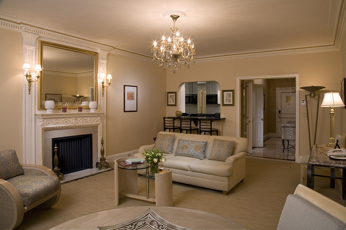 interior suite 814 features a living room complete with a fireplace