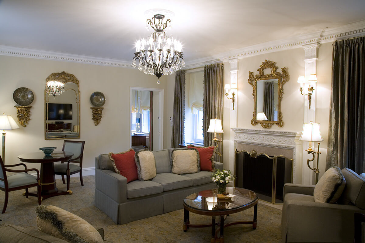 gorgeous chandelier and fireplace set the tone of sophistication in