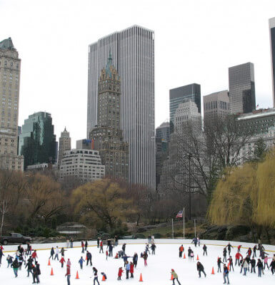 Winter ice skaters in Central Park