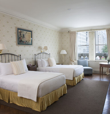 Two double beds are offered in one of the two bedrooms in the Park View Suite #301.