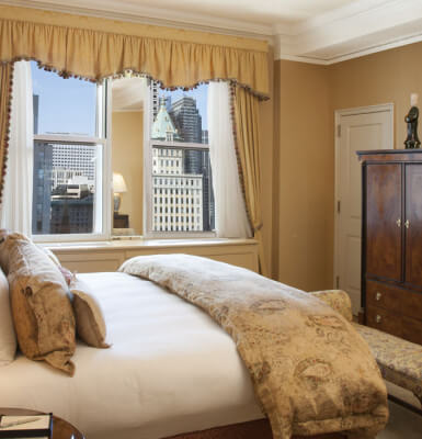 Scan the majestic New York skyline from the bedroom in City View Suite #2107.